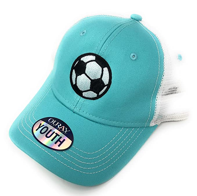 13aa1061463 Mary s Monograms Custom Embroidered Soccer Ball Youth Trucker Hat (Mint  Green)  Amazon.ca  Clothing   Accessories