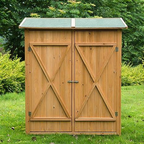 Cobertizo 65 X 139 X 159 Cm Caseta Herramientas Caseta Jardin Madera Puerta Doble