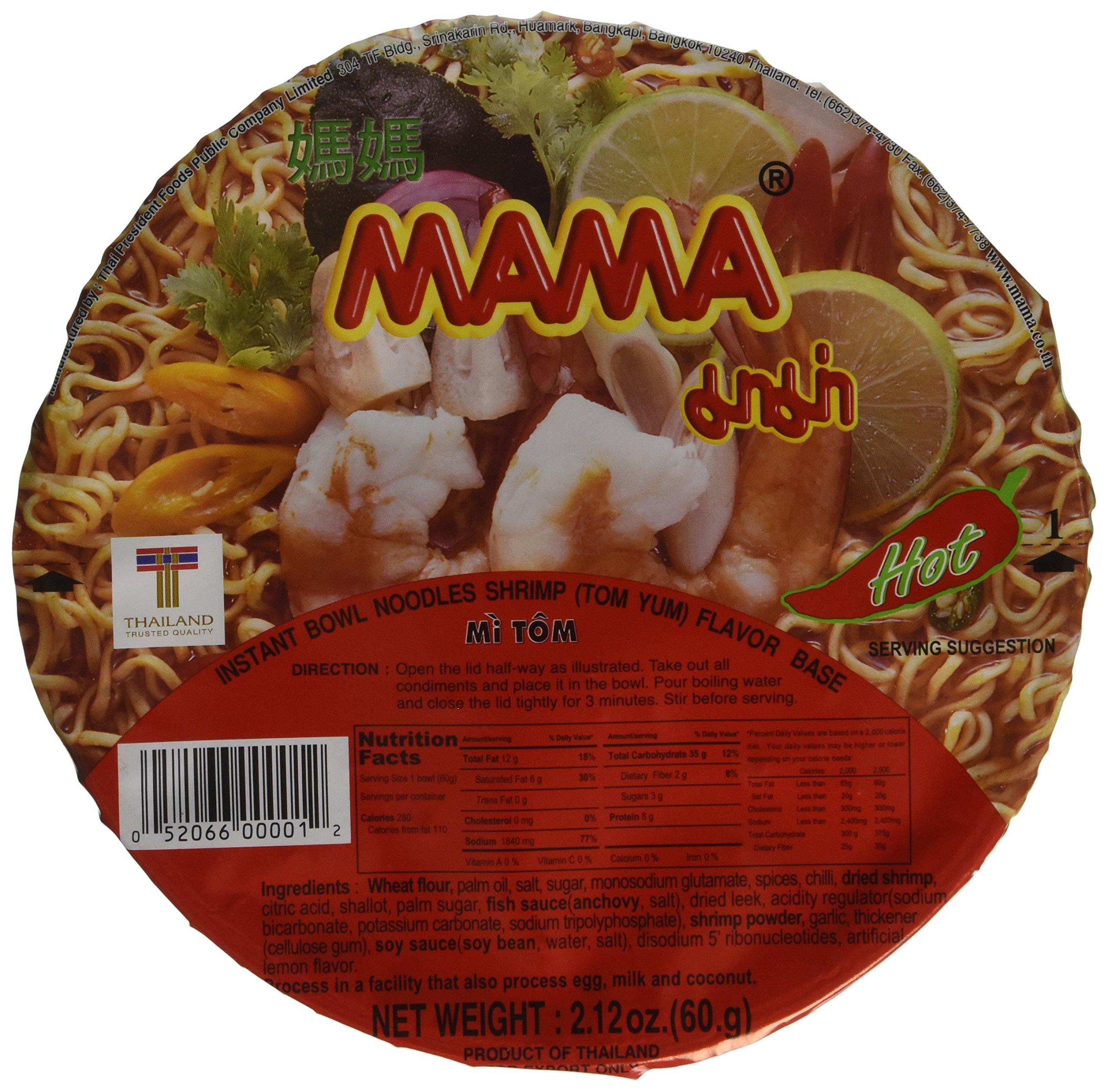 MAMA Instant Noodle Soup Bowls, Shrimp (Tom Yum), 2.12 oz, 12 Count