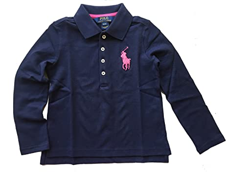 Ralph Lauren Little Girl Big Pony Long Sleeve Polo Shirt Size 6 NWT Navy