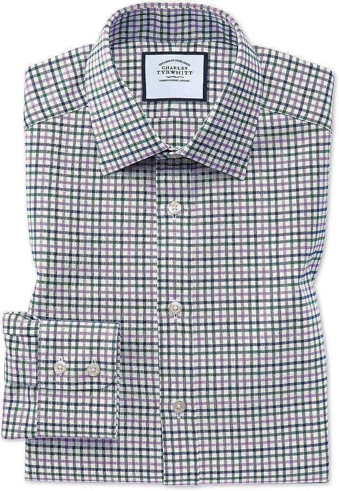 Charles Tyrwhitt Camisa Morada y Verde de Corte clásico a Cuadros campestres: Amazon.es: Ropa y accesorios