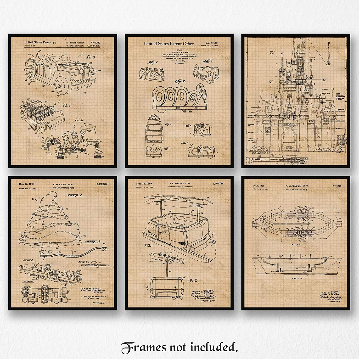 Vintage Disney Rides Patent Posters Prints, Set of 6 (8x10) Unframed Photos, Wall Art Decor Gifts Under 20 for Home, Office, Garage, Man Cave, Shop, College Student, Teacher, Theme Park & Movies Fan