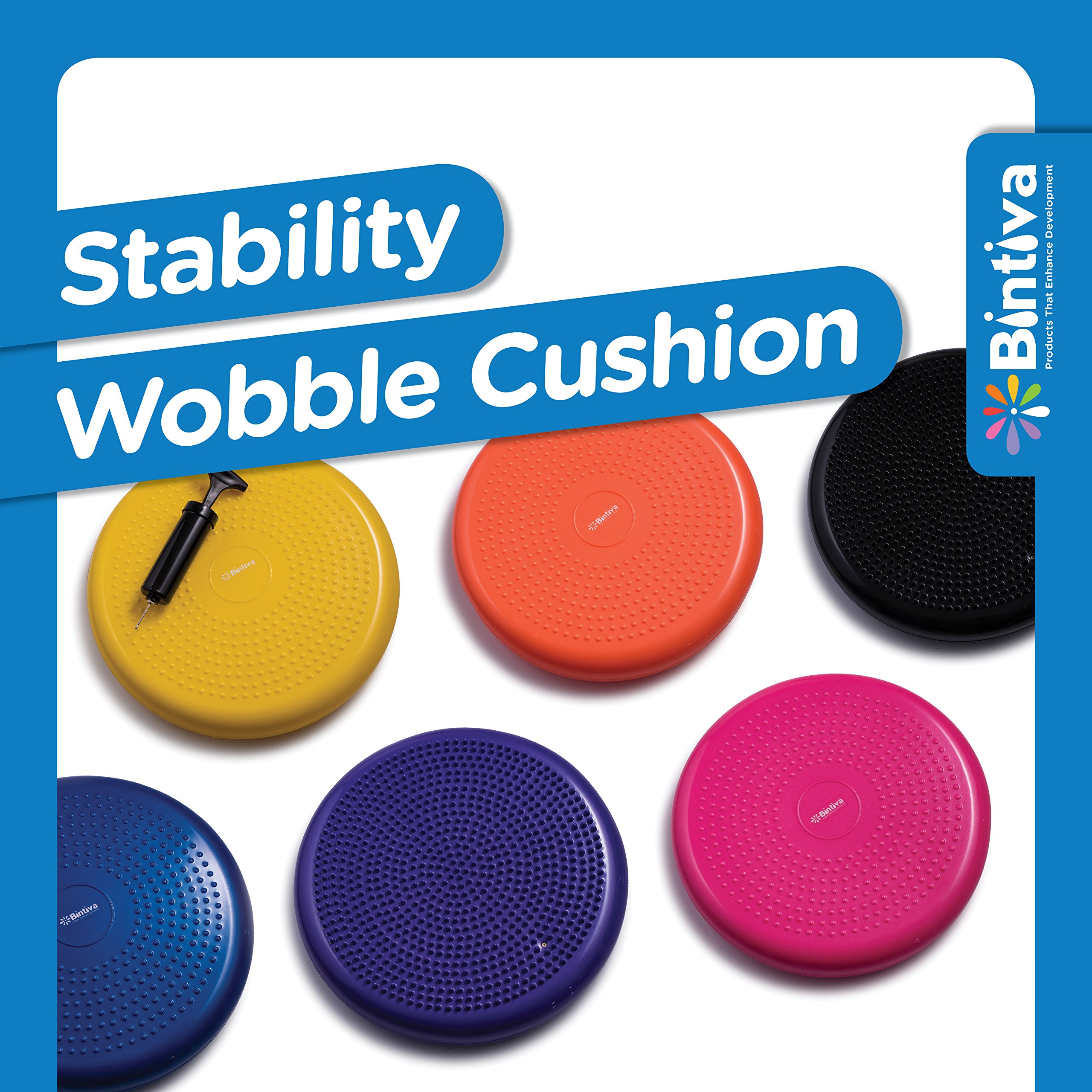 Inflated Stability Wobble Cushion, Including Free Pump / Exercise Fitness Core Balance Disc,Blue,size: 13 inches / 33 cm diameter by bintiva (Image #9)