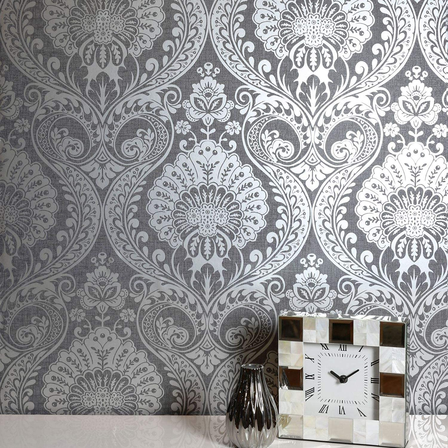 Decoris Navy Blue and Gold Damask Wallpaper by Arthouse 910308