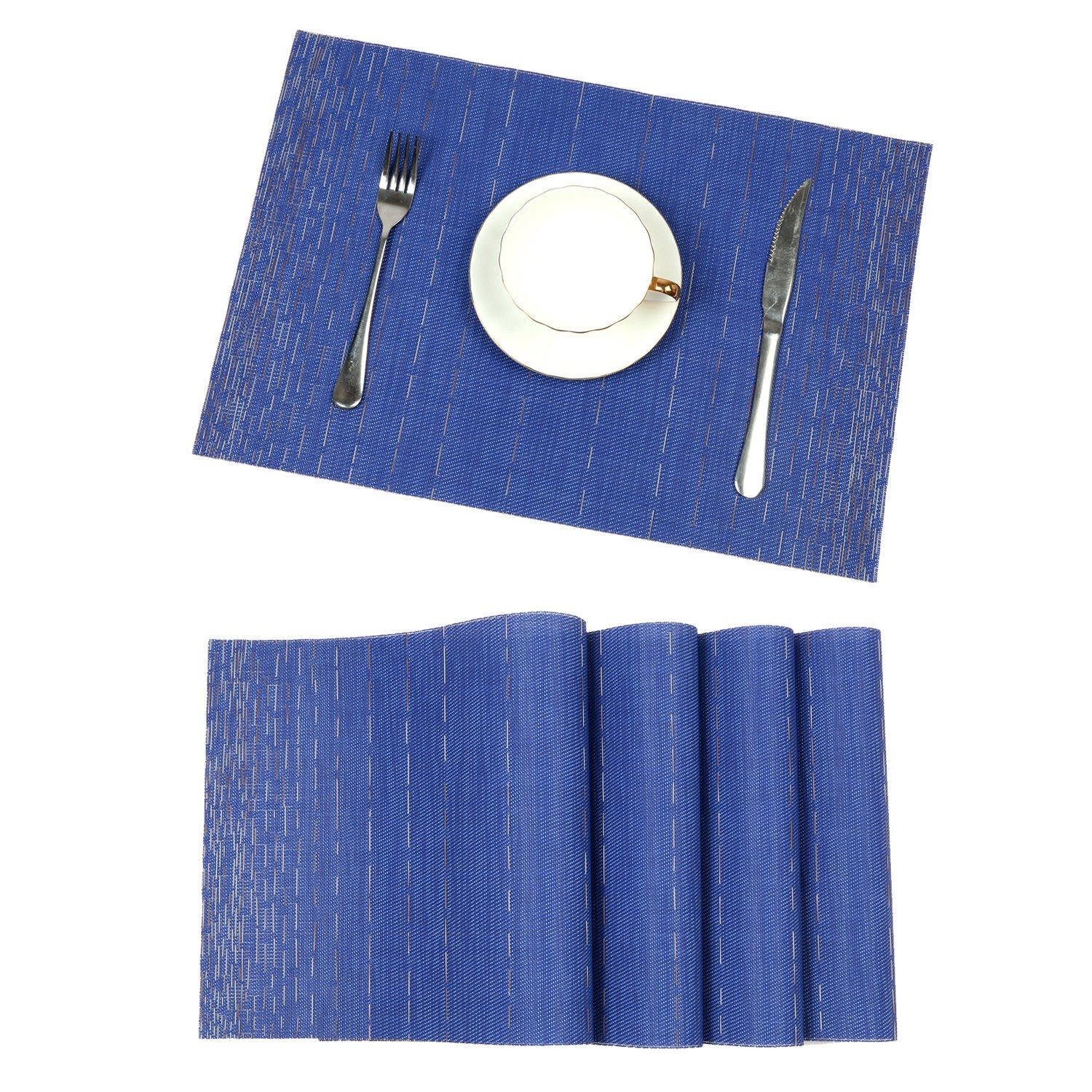 Pauwer Placemats for Dining Table Heat resistant Stain Resistant Washable PVC Placemats Set of 8 Kitchen Table Place Mats Woven Vinyl Placemats (Blue, Set of 8)