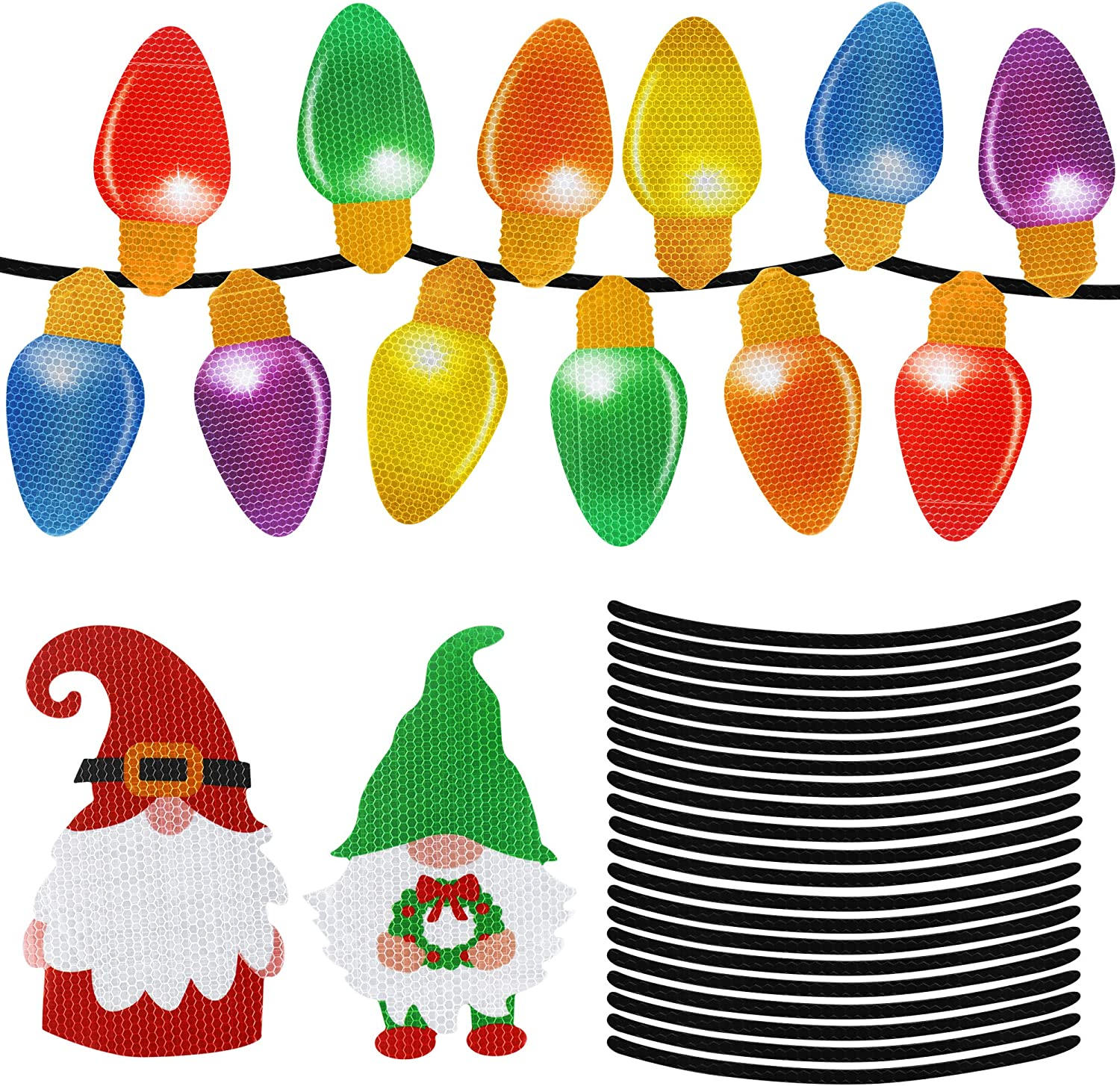 38Pcs Christmas Reflective Car Magnets Set - Christmas Decorations - Christmas Gnome Magnets Decor - Xmas Light Bulb Magnets Stickers for Car Refrigerator Garage Door - Xmas Holiday Decorations