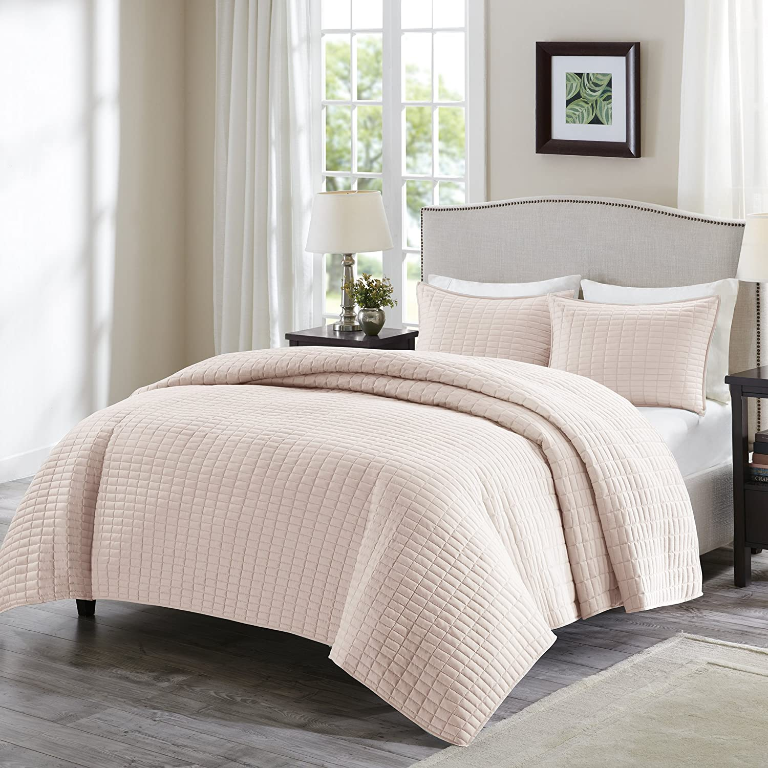Comfort Spaces   Kienna Quilt Mini Set   2 Piece   Blush   Stitched Quilt Pattern   Twin/Twin Xl Size, Includes 1 Quilt, 1 Sham by Comfort Spaces