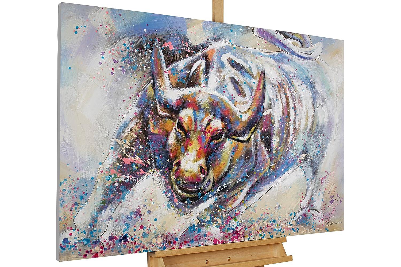 KunstLoft® Acryl Gemälde 'Zum Angriff' 120x80cm     original handgemalte Leinwand Bilder XXL   Tier Stier Stolz Rot   Wandbild Acrylbild moderne Kunst einteilig mit Rahmen 6ea391
