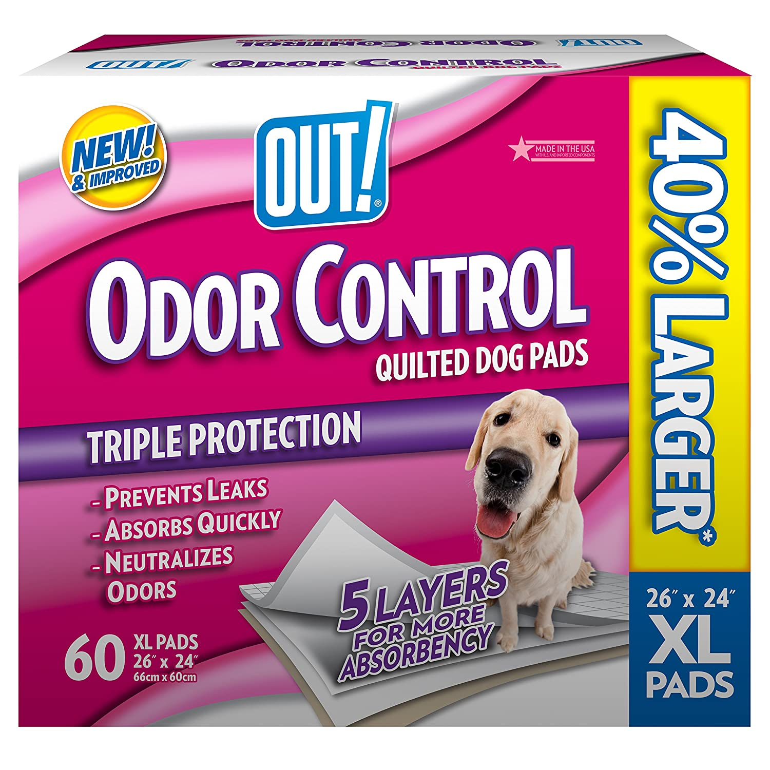 OUT! Odor Control Extra Large Dog Pads, 26 x 24 inches, Multiple Counts OUT! International 72471-1P