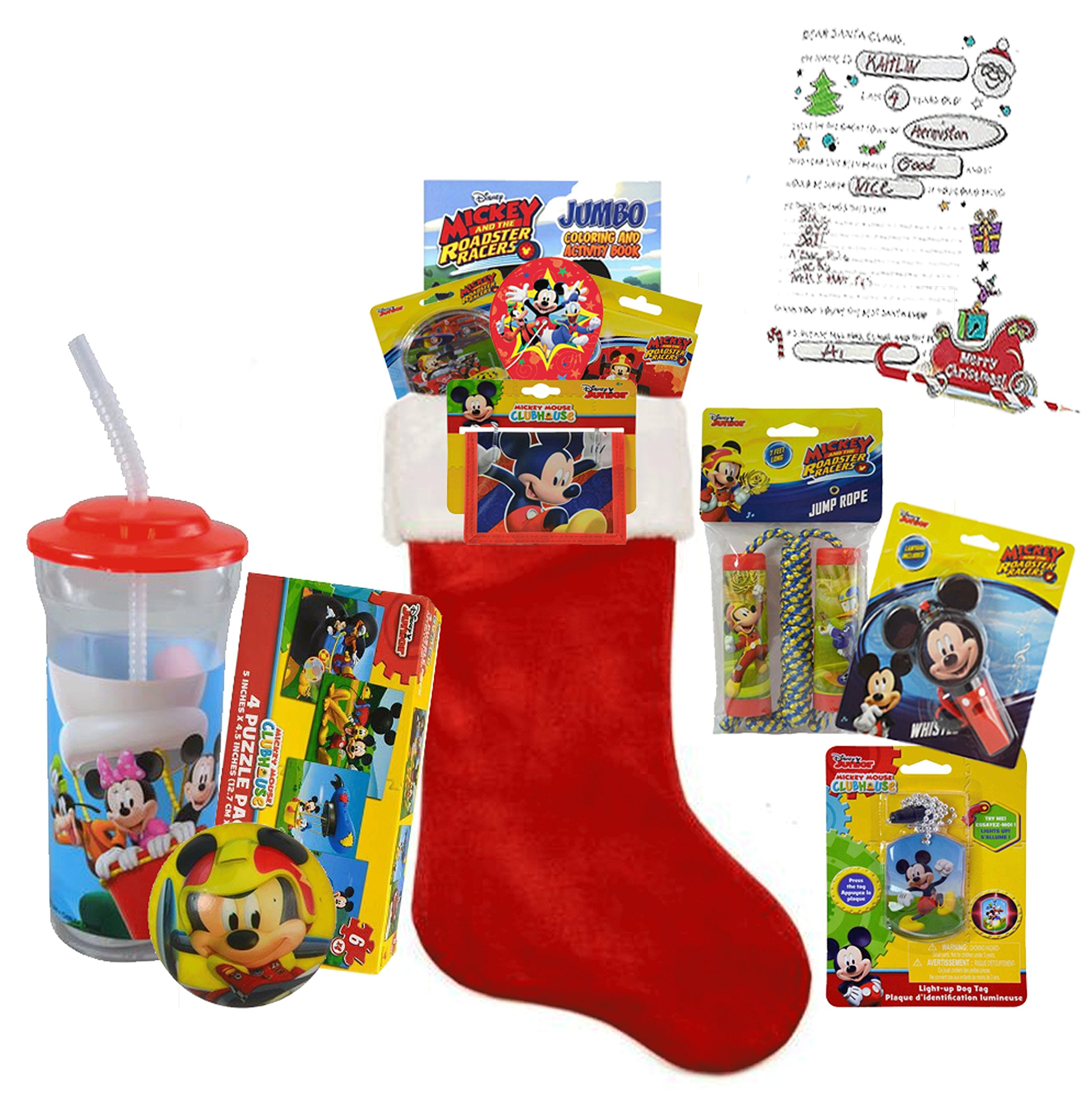Disney Mickey Mouse Inspired ''Mickey and the Roadster Racers'' All Inclusive Kids 12pc Pre-Filled Christmas Stocking! Plus Bonus ''Letter To Santa''