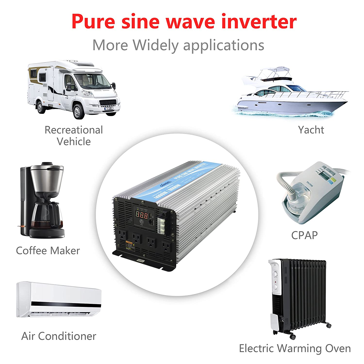 Giandel 4000w Heavy Duty Pure Sine Wave Power Inverter Circuit Diagram As Well In Dc12v To Ac120v With 4 Ac Outlets Remote Control 24a Usb And Led Display