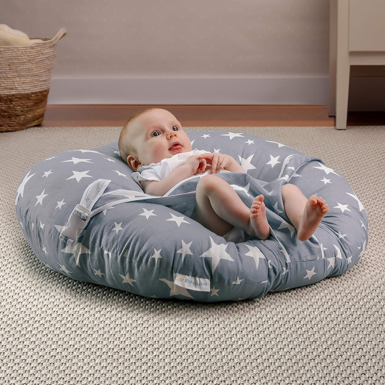 BANBALOO-Tumbona para recién nacido/hamaca bebé, cojín ergonómico niños/cama nido portátil; suave almohada de viaje para bebes. Montessori (GRIS ...