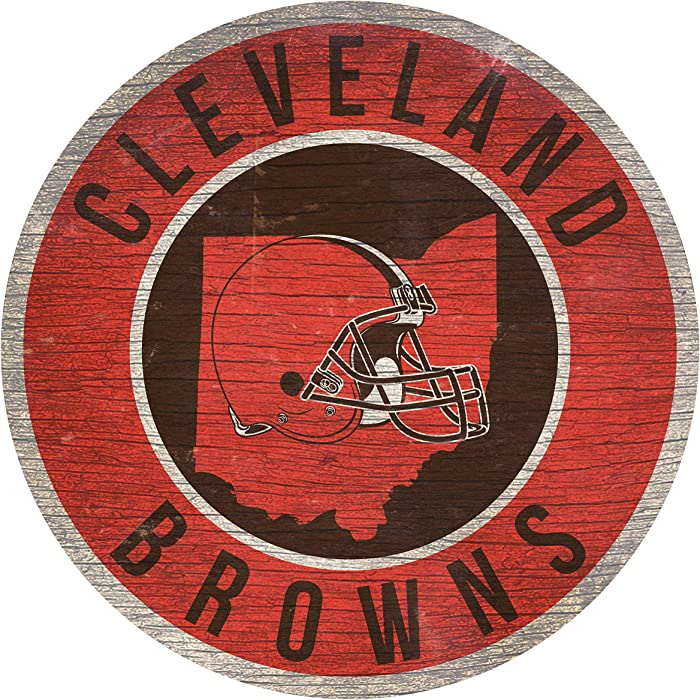 Fan Creations NFL Wood Sign 12 Inch Round State Design