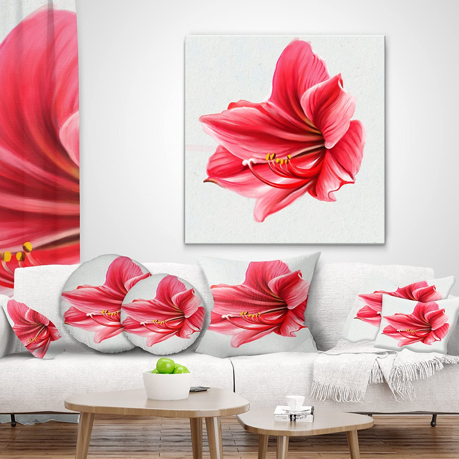 X 16 In Designart Cu13581 16 16 Big Red Flower Sketch On White Floral Cushion Cover