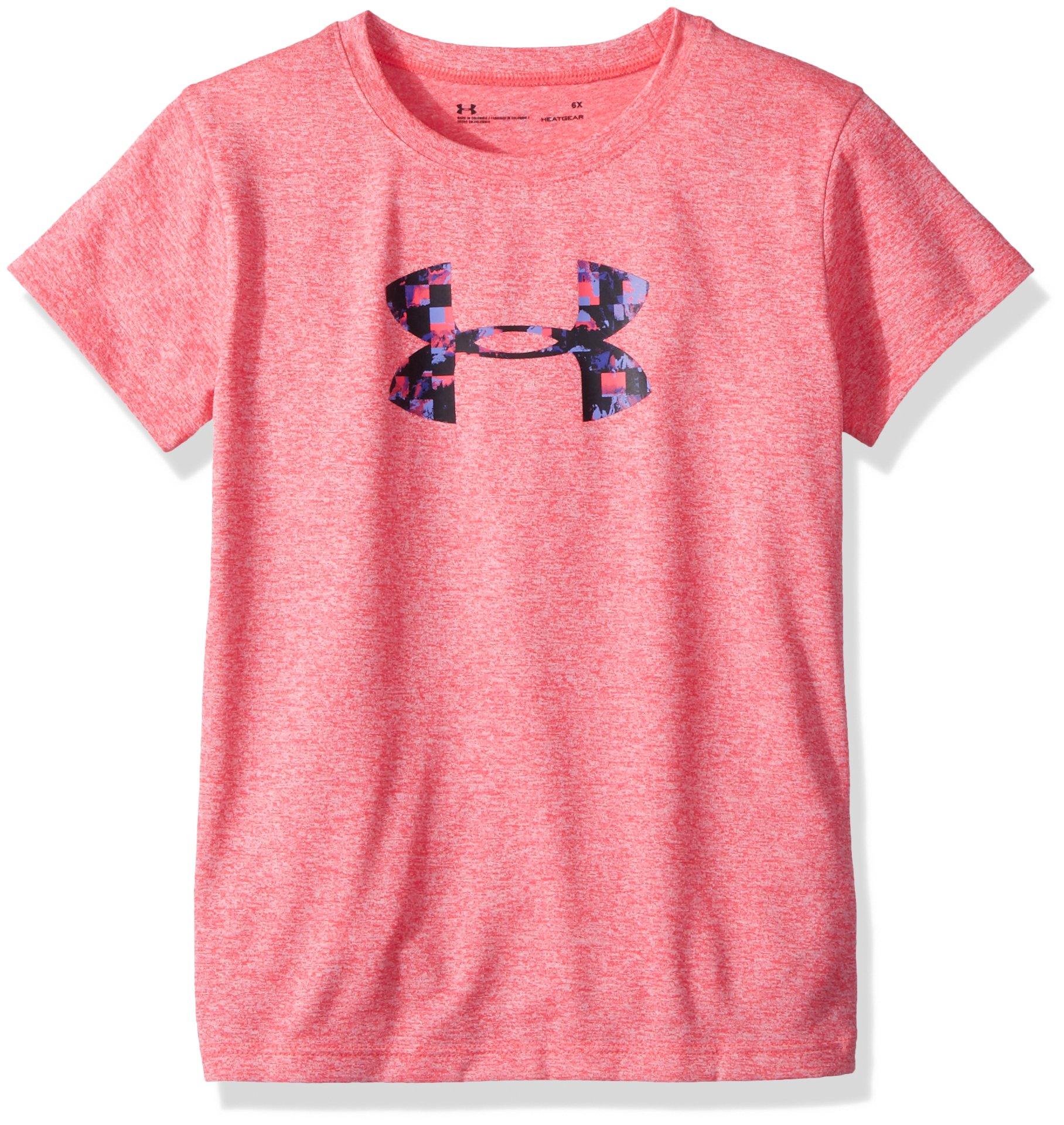 Under Armour Girls' Little Overlay Print Logo Short Sleeve T-Shirt, Penta Pink, 5