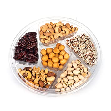 Amazon com : ONEG Large Round Gourmet Nut Platter, Assorted