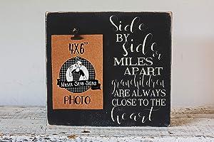EricauBird Wall Art Grandparent Photo s, Side by Side or Miles Apart Grandchildren Wood Sign, Photo Clip Frame, Grandparents Home Decor, Solid Pine, 10x10 Wood Plaque