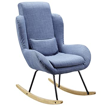 5 Schaukelstuhl Relaxsessel Finebuy Corey 110 75 Design Blau 88 X 5LcAjRS34q