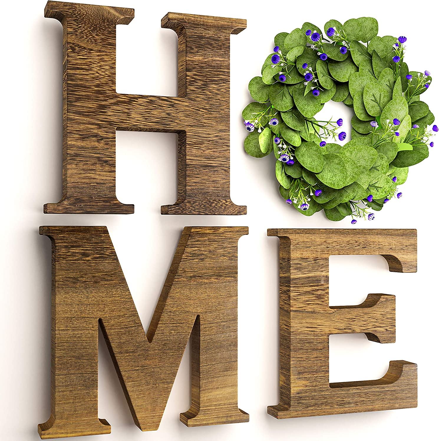 DOONLIFE Home Letters for Wall with Wreath - Easy to Hang Wooden Signs for Home Decor Wall with Artificial Eucalyptus Wreath (Brown)