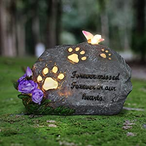 Exhart Solar Pet Memorial Stone w/Paws, Butterfly & Flowers for Garden | Sweet Inspirational Memorial Stepping Stone for Home and Garden Decorations – Pet Headstones for Dogs & Cats | 9x6 inches