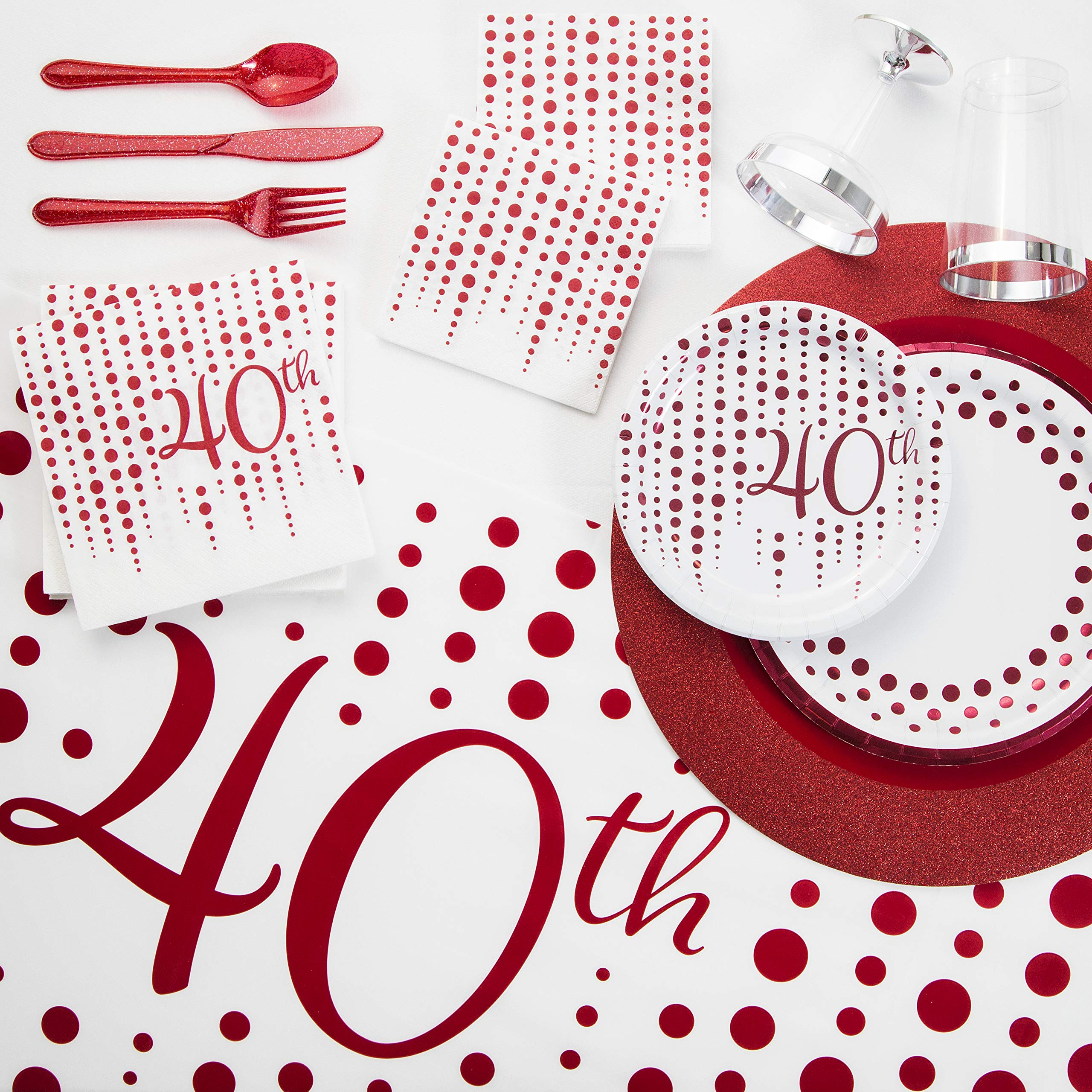 Sparkle and Shine Ruby 40th Anniversary Deluxe Party Kit, Serves 24