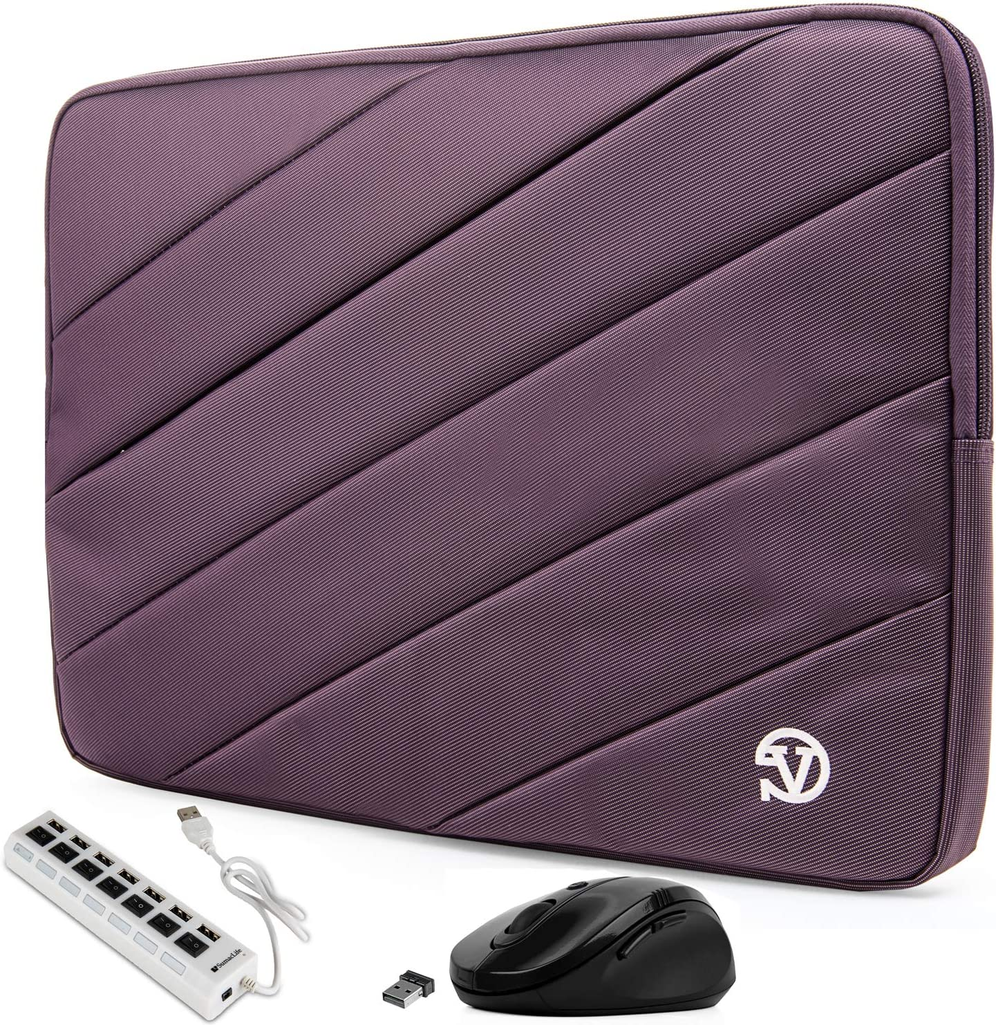 Protective Purple Shock Absorbing Laptop Sleeve for Dell Inspiron, Latitude, XPS, Precision, G3 G5 G7 15, Vostro, Alienware m15, m15 R2 14 to 15.6 inch (Includes USB Hub and Mouse)