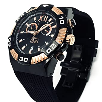 f7c0553548 Cerruti 1881 Diamond CRWA038D224Q Men Chronograph Watch 44 mm Black Rubber  Strap Swiss Made Rose Gold Tone: Amazon.co.uk: Watches