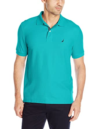 Nautica Mens Performance Pique Polo Shirt, Tropic Wave, Medium ...