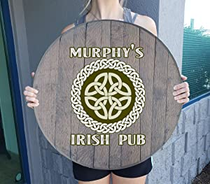 CBW Irish Pub Ireland Celtic Knot Whiskey Barrel Gift Man Cave Barnwood Gray Large Wall Decor