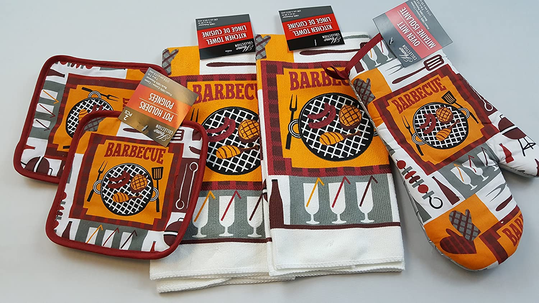 BBQ Barbecue Kitchen Linen Bundle 5 Piece Set Includes 2 Kitchen Towels, 2 Pot Holders, 1 Oven Mitt (BBQ Set B)