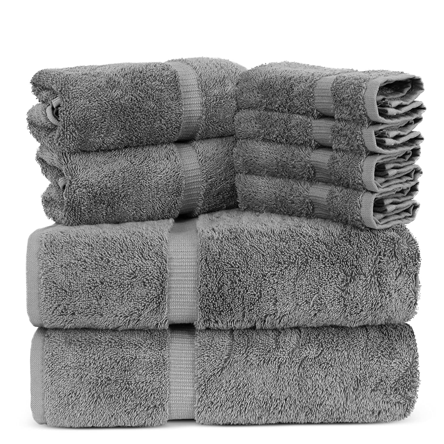 Towel Bazaar Luxury Hotel and Spa Quality 100% Premium Turkish Cotton 8 Pieces Eco-Friendly Kitchen and Bathroom Towel Set (2 x Bath Towels, 2 x Hand Towels, 4 x Wash Cloths, Pink)