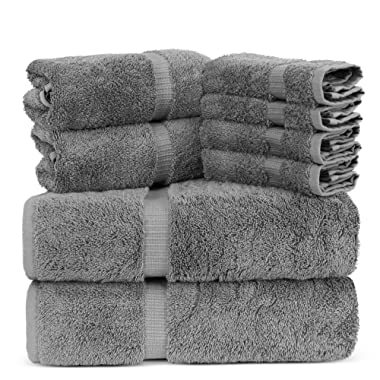 Towel Bazaar Luxury Hotel and Spa Quality 100% Premium Turkish Cotton 8 Pieces Eco-Friendly Kitchen and Bathroom Towel Set (2 x Bath Towels, 2 x Hand Towels, 4 x Wash Cloths, Gray)