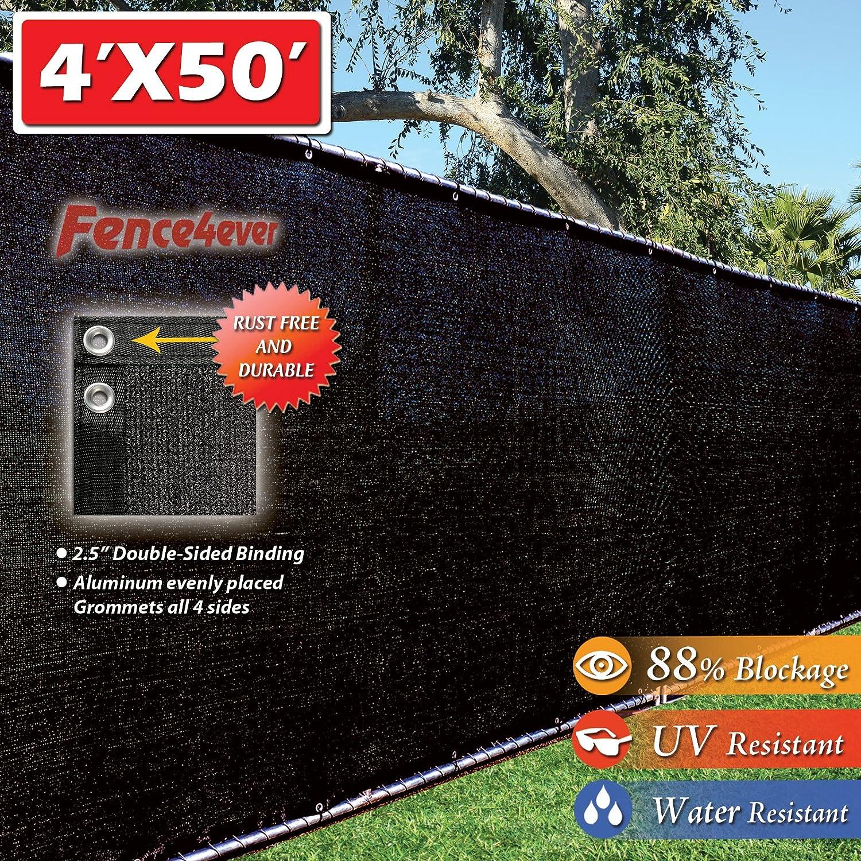 fence4ever 4 x 50 3rd Gen Negro Valla de privacidad Parabrisas Shade Tela Malla Tarp (aluminio arandelas): Amazon.es: Jardín