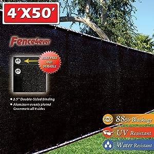 Fence4ever 4' x 50' 3rd Gen Black Fence Privacy Screen Windscreen Shade Fabric Mesh Tarp (Aluminum Grommets)