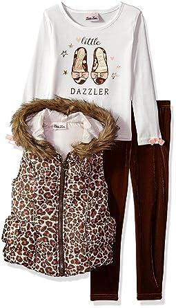 82981dccdb61 Amazon.com: Little Lass Girls' 3 Pc Leopard Puffer Vest Set: Clothing