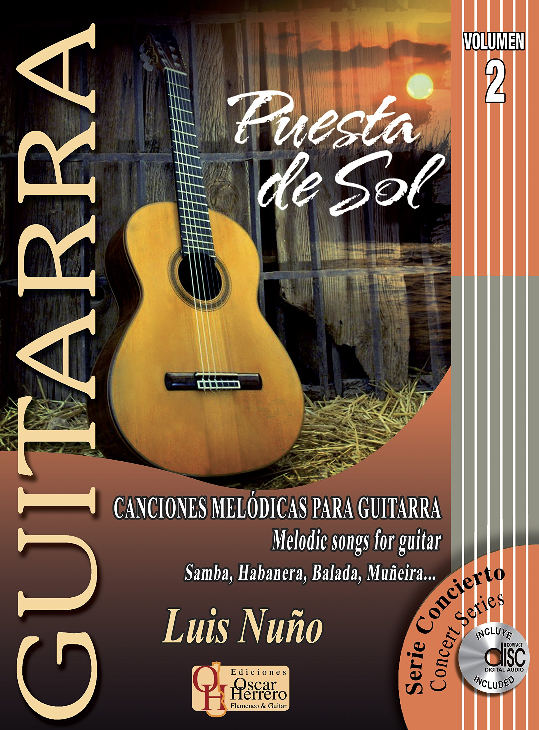 Guitarra: puesta de sol, vol.II libro de partituras + CD esp-ing: Amazon.es: LUIS NUÑO: Libros