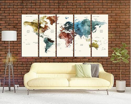 Amazon.com: Watercolor Push Pin World Map Wall Art Canvas ...