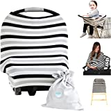 Nursing Breastfeeding Cover Scarf - Baby Car Seat Canopy (Multi-Use 4-1 Stretchy), Shopping Cart, Stroller, Carseat Covers, Infinity Nursing Shawl for Boys and Girls, Newborn Registry Baby Shower Gift