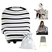 Baby Car Seat Cover Canopy | Nursing Cover (Multi-Use 4-1 Stretchy) Infinity Nursing Scarf | Grocery Shopping Cart Cover | High Chair Covers (Grey White Stripe) Unisex Baby Shower Gift