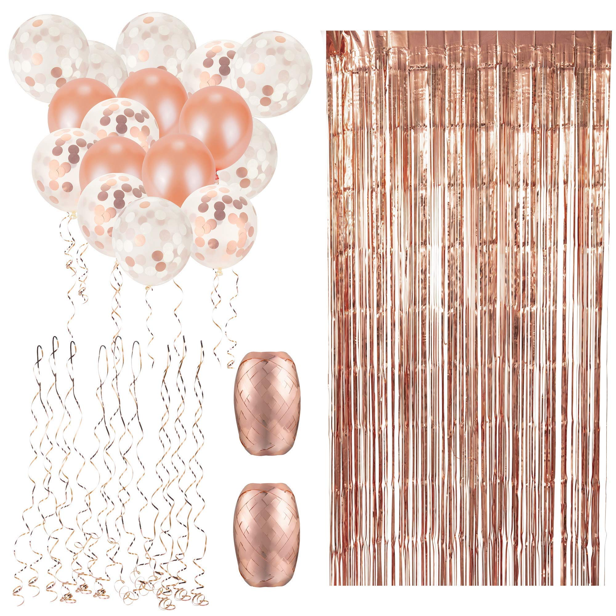 Rose Gold Balloons & Rose Gold Confetti Balloons (60-Pc. Set) Colorful Party Decorations w/Foil Curtain and Ribbons | Birthday, Anniversary, Graduation, Baby Shower, Wedding Parties