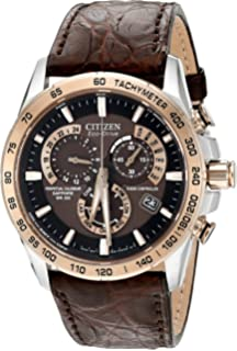 Citizen Mens Perpetual Chronograph AT Eco-Drive Brown Leather Strap Watch 42mm AT4001-00X