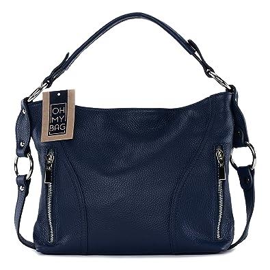4916668ea8 OH MY BAG Sac à main en cuir S bleu fonce: Amazon.fr: Chaussures et Sacs