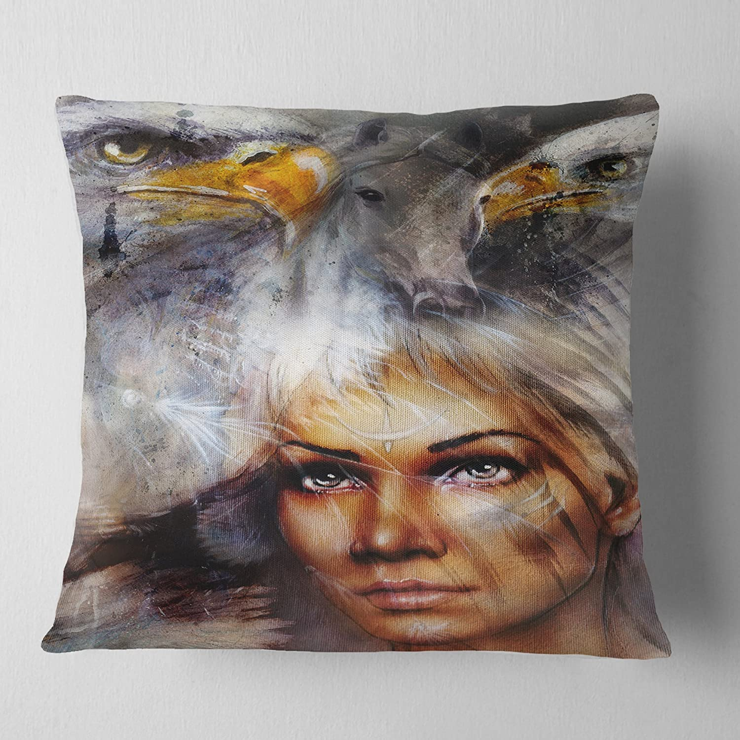 Sofa Throw Pillow 18 x 18 Designart CU6544-18-18 Woman with Flying Eagles Portrait Cushion Cover for Living Room