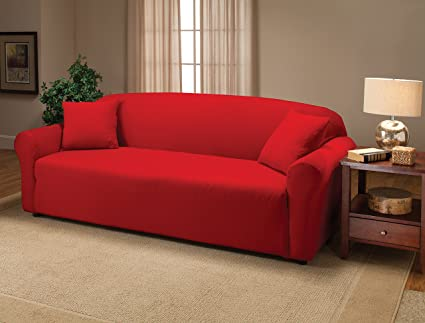High Quality Madison Stretch Jersey Red Sofa Slipcover, Solid