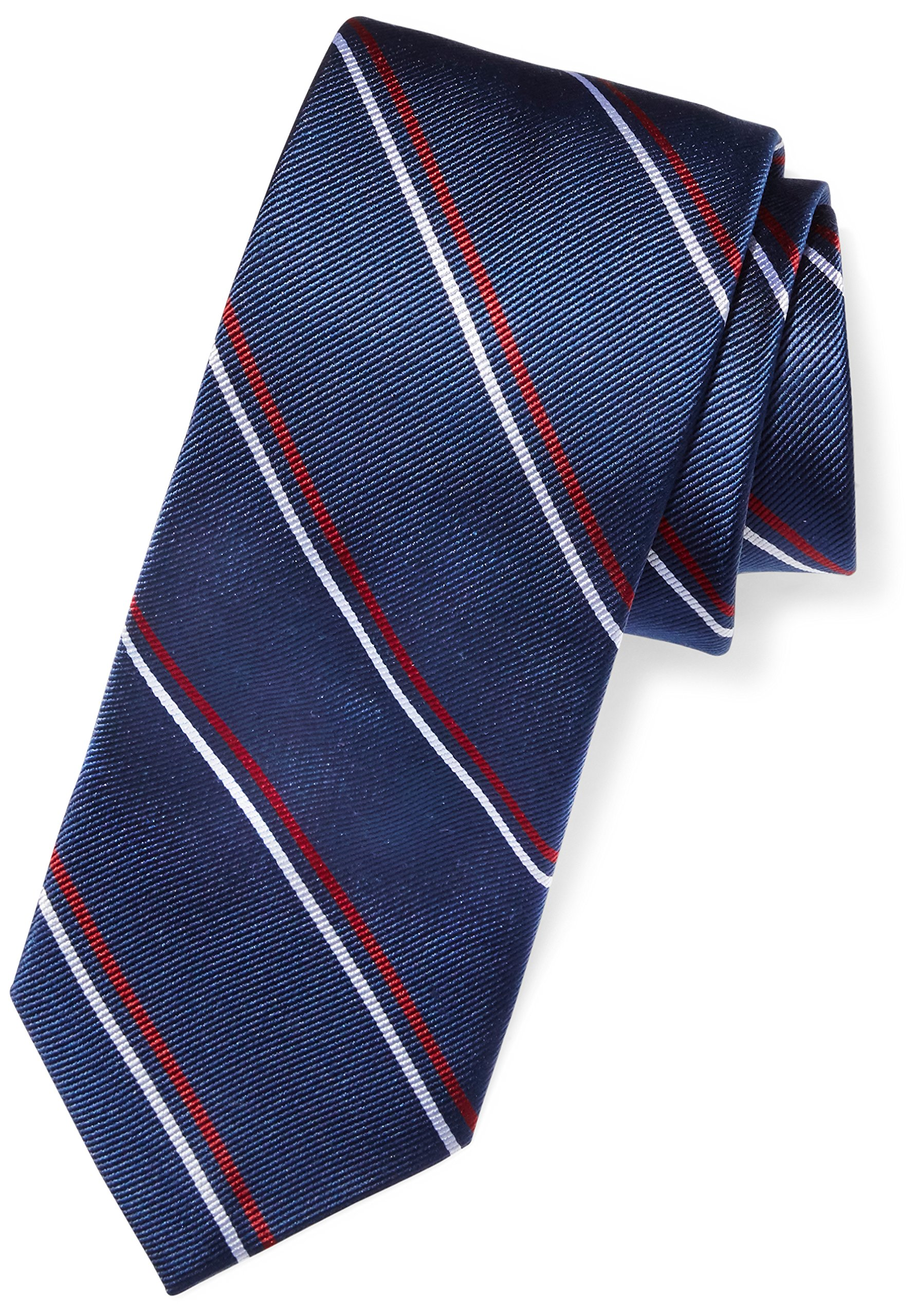 Buttoned Down Men's Classic Silk 3'' Necktie, Navy/Red Thin Stripe (Contrast Tail: Dots), Regular