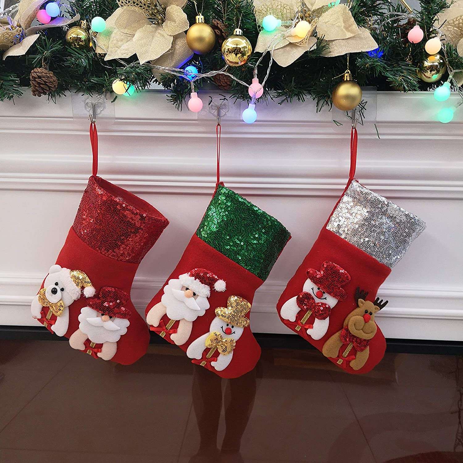 Houwsbaby 6 pcs Small Sequin Scale Christmas Stockings 3D Image Holders Kit Felt Socks Sparkle Paillette Ornament Party Decor Gift Bags for Kids Red 01 11.5 inches
