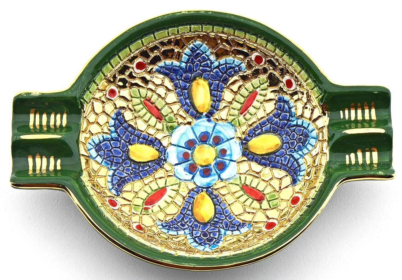Art Escudellers CENICERO Redondo Ceramica Pintado a Mano con Oro de 24K, Decorado al Estilo BIZANTINO Verde. 17cm x 12,5cm x 3,5cm: Amazon.es: Hogar
