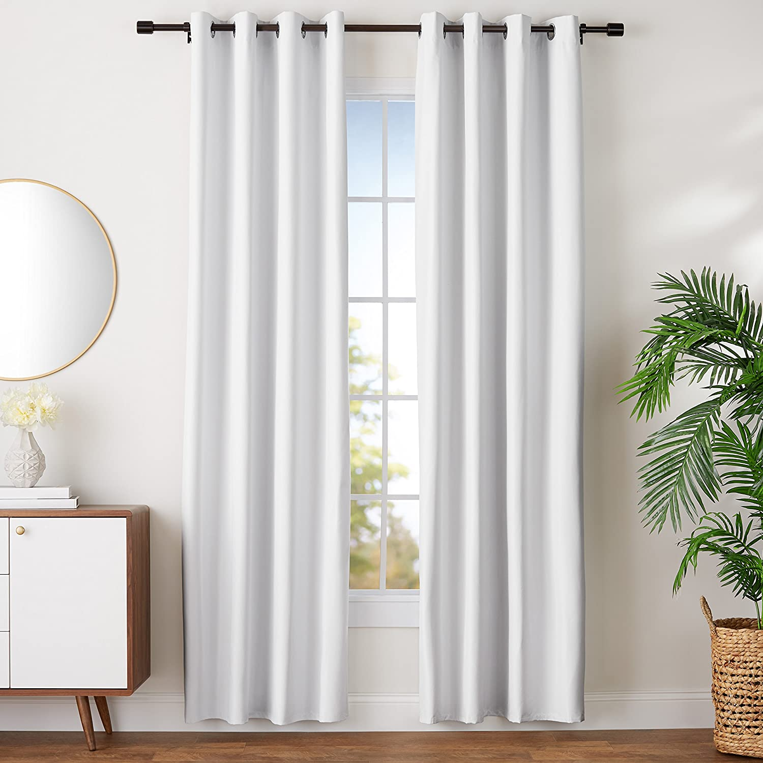AmazonBasics Room-Darkening Blackout Curtain Set with Grommets - 42 x 63, Grey-Beige AmazoBasics TEX-1855
