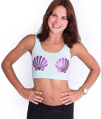 d51d45eb6d4cc6 Onlineapparel Shell Mermaid Green Purple Crop Top  Amazon.co.uk  Clothing