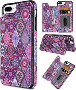 Coolden for iPhone 8 Plus Case Wallet Slim Credit Card Holder Painted Ethnic Totem Cover Kickstand Protective Durable PU Leather Flip Folio Case for 5.5 inch iPhone 8 Plus 7 Plus 6 Plus, Purple